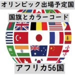 オリンピック出場予定国・国旗+カラーコード(アフリカ56か国)