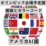 オリンピック出場予定国・国旗+カラーコード(アメリカ41か国)