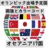オリンピック出場予定国・国旗+カラーコード(オセアニア17か国)