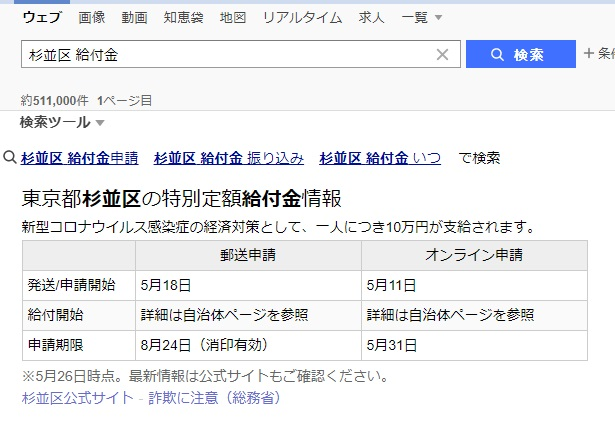 Yahoo!検索:給付金