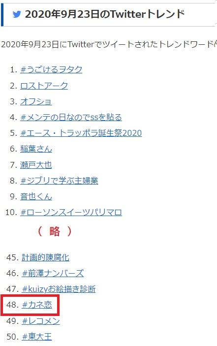 Twitterトレンド 2020/09/23