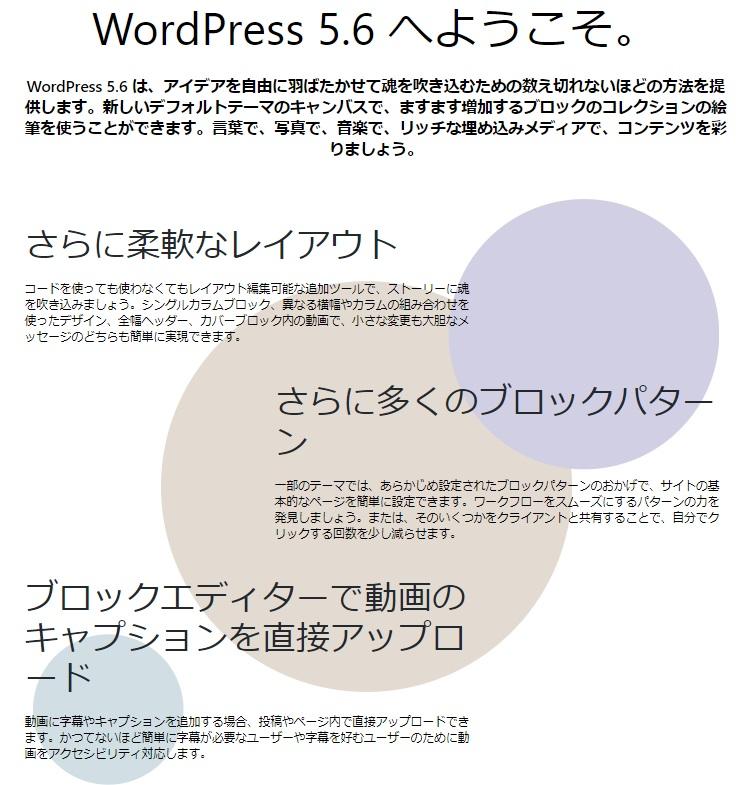 WoredPress5.6新機能