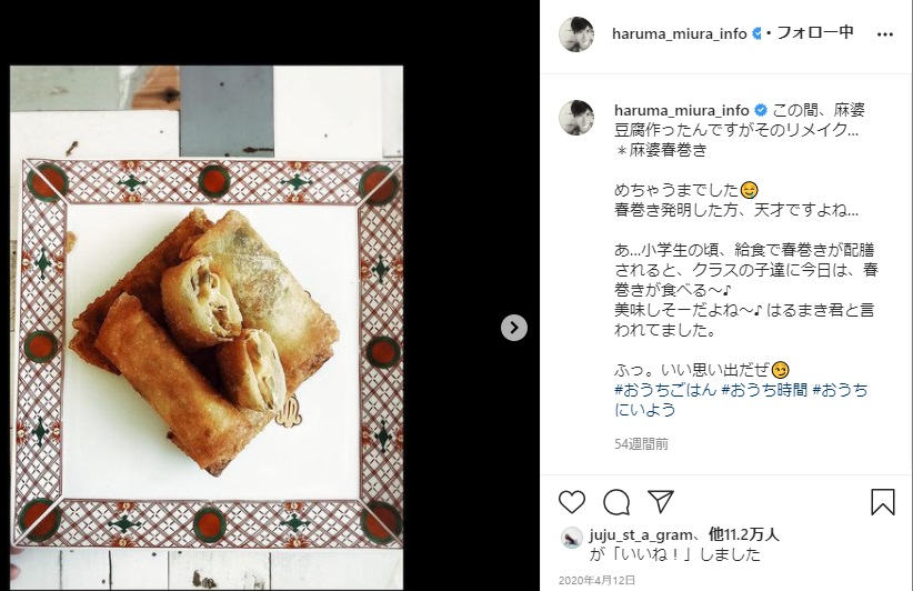 三浦春馬リメイク料理「麻婆春巻き」